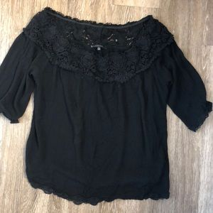 Crochet black Off the shoulder black top Sz small